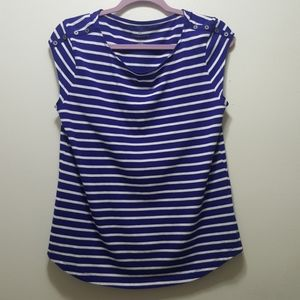 Liz Claiborne Blue and White Striped Tank